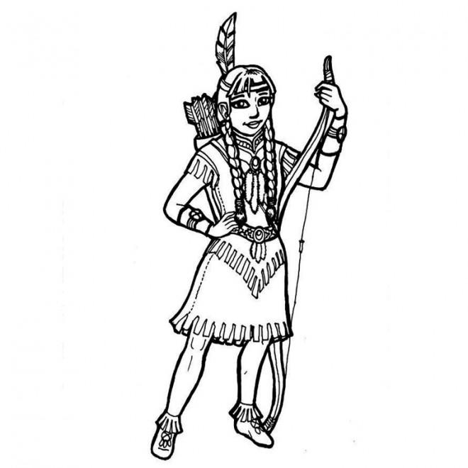 Coloriage et dessins gratuits Jeune indienne avec ses flèches et arc à imprimer