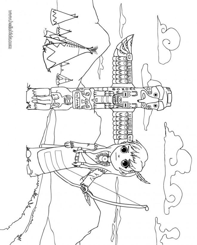 Coloriage et dessins gratuits Jolie petite indienne dans son village à imprimer