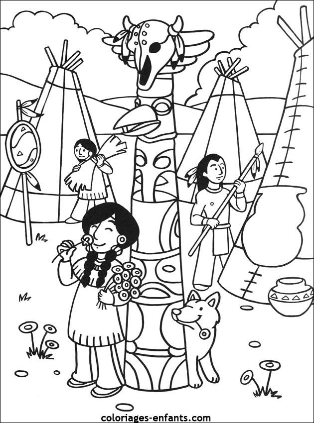 Coloriage et dessins gratuits Le village des indiens à imprimer