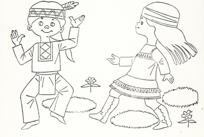 Coloriage et dessins gratuits Les enfants indiens s'amusent à imprimer