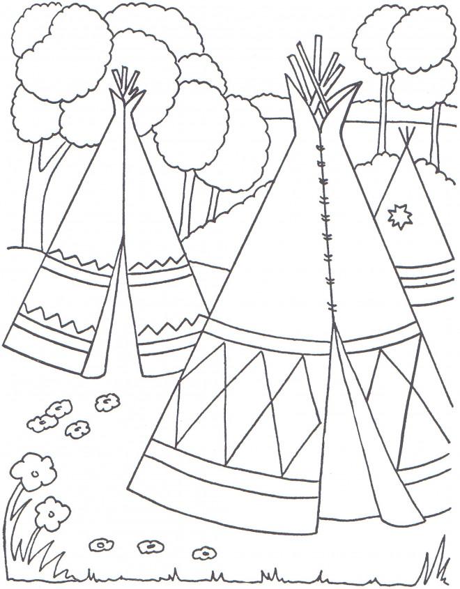 Coloriage et dessins gratuits Les tentes des indiens d'amérique à imprimer