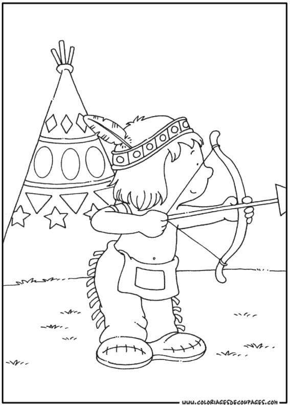 Coloriage petit enfant indien en chasse dessin gratuit imprimer - Coloriage petit indien imprimer ...