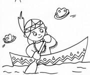 Coloriage et dessins gratuit Petite Indienne dans le navire à imprimer