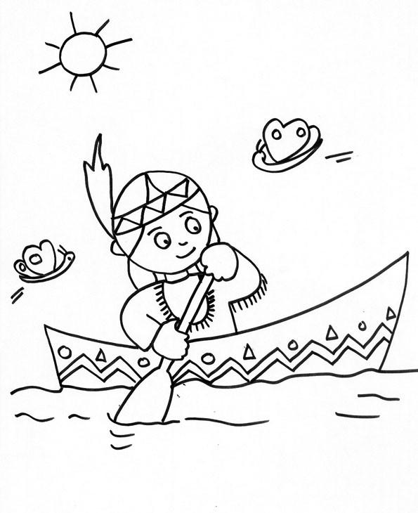 Coloriage et dessins gratuits Petite Indienne dans le navire à imprimer