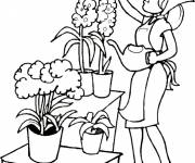 Coloriage entretien Jardin de fleurs