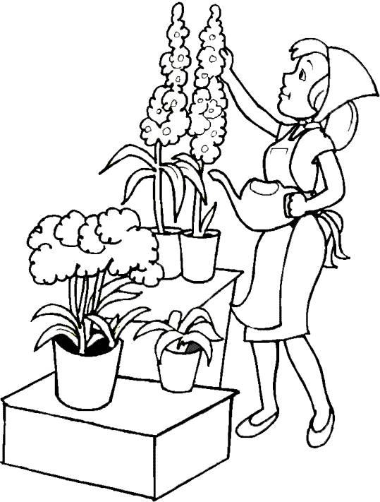 Coloriage et dessins gratuits entretien Jardin de fleurs à imprimer