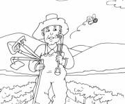 Coloriage et dessins gratuit Fermier dans le champs à imprimer
