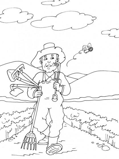 Coloriage et dessins gratuits Fermier dans le champs à imprimer