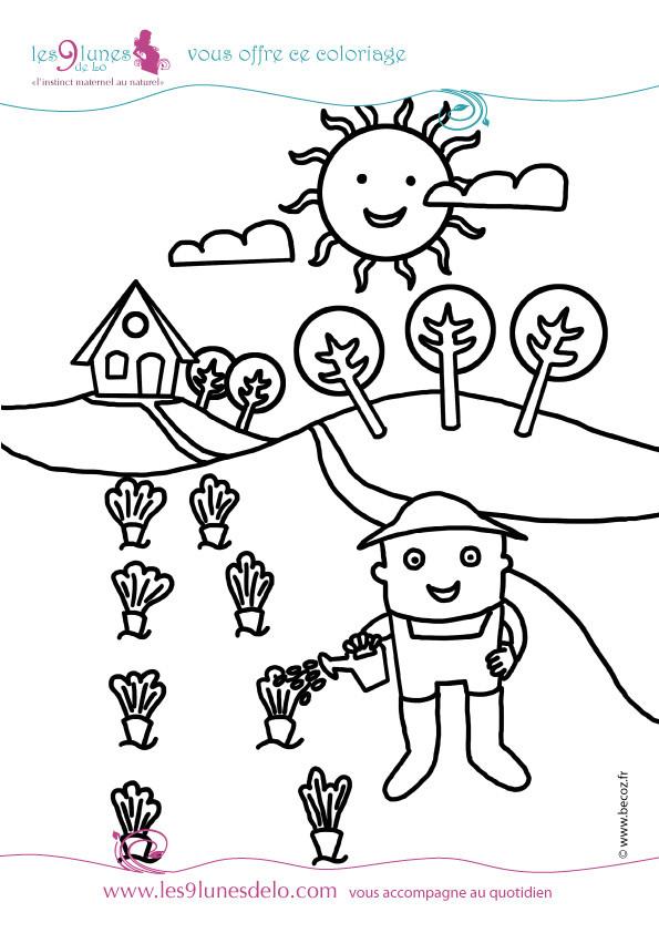 Coloriage et dessins gratuits Jardinier arrose facile à imprimer