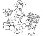 Coloriage Jardinier arrose les fleurs
