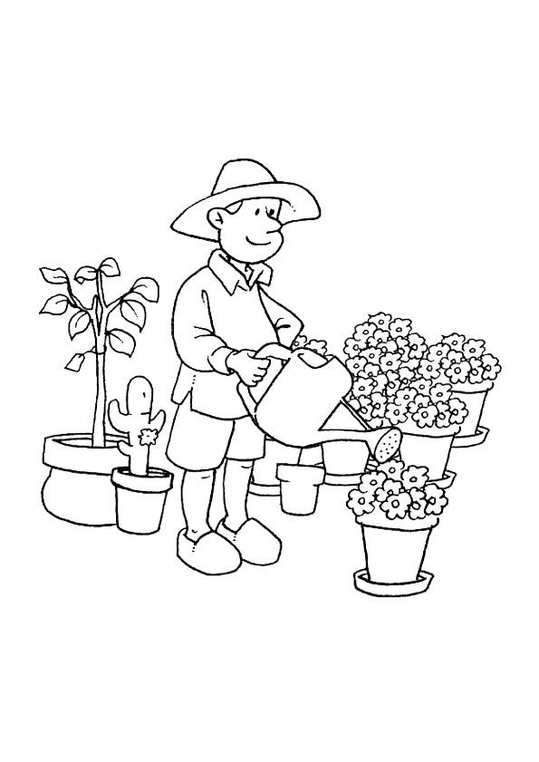 Coloriage Bebe Fleurs.Coloriage Jardinier Arrose Les Fleurs Dessin Gratuit A Imprimer