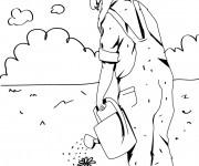 Coloriage Jardinier arrose une fleur couleur