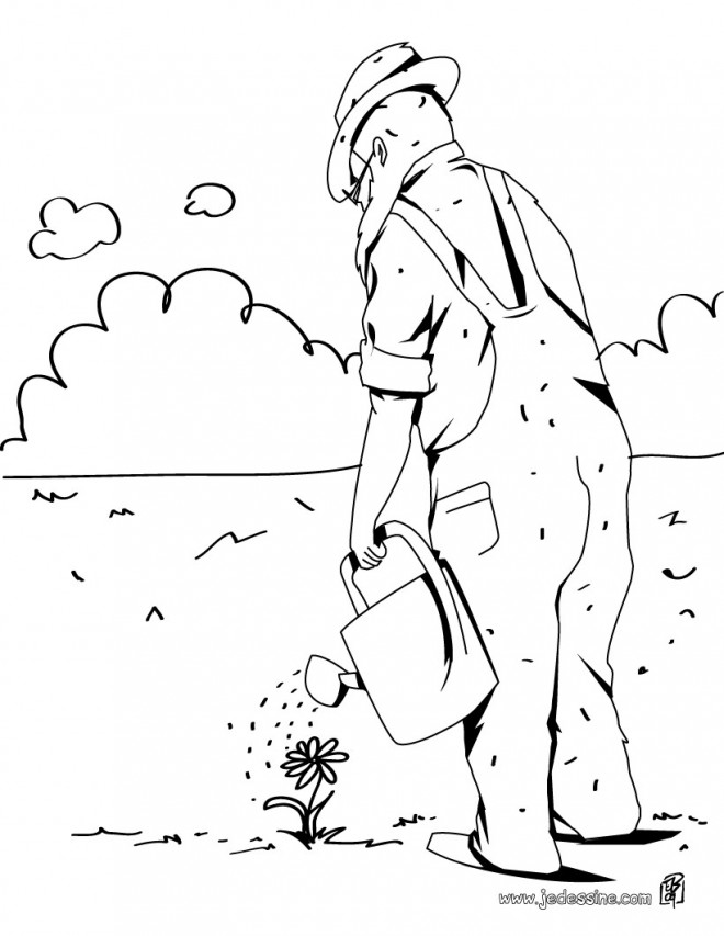 Coloriage et dessins gratuits Jardinier arrose une fleur couleur à imprimer