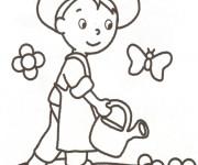 Coloriage Jardinier enfant et papillons