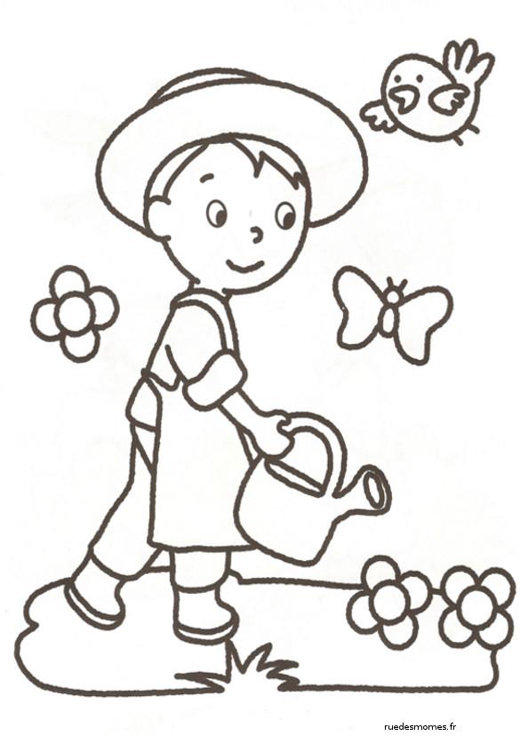 Coloriage et dessins gratuits Jardinier enfant et papillons à imprimer