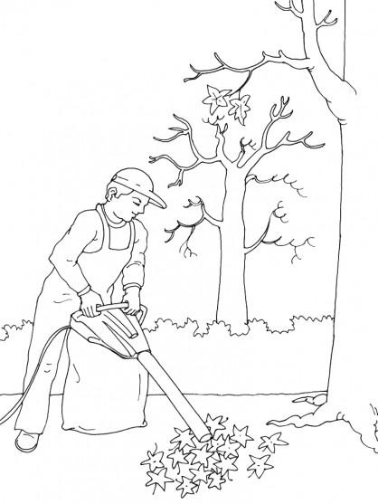 coloriage jardinier et feuilles d 39 arbre dessin gratuit. Black Bedroom Furniture Sets. Home Design Ideas