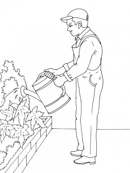 Coloriage et dessins gratuits Jardinier et fleurs en ligne à imprimer