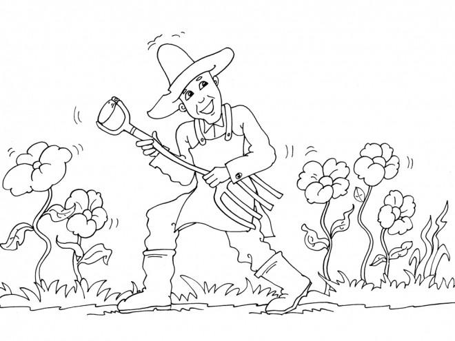 Coloriage et dessins gratuits Jardinier et Fourche-bêche à imprimer