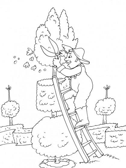 Coloriage jardinier et l 39 arbre dessin gratuit imprimer for Jardinier en ligne