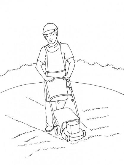 Coloriage et dessins gratuits Jardinier et Tondeuse à imprimer