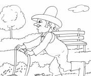 Coloriage Jardinier et tondeuse à gazon
