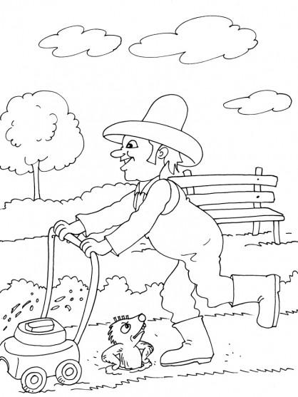 Coloriage et dessins gratuits Jardinier et tondeuse à gazon à imprimer