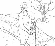 Coloriage Jardinier facile