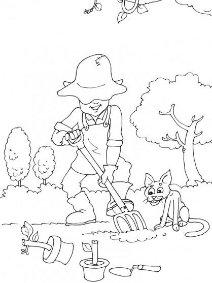 Coloriage jardinier jardin dessin gratuit imprimer for Dessiner jardin en ligne