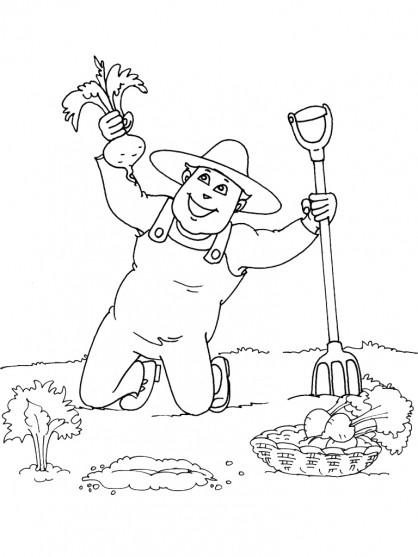 Coloriage et dessins gratuits Jardinier moisson à imprimer