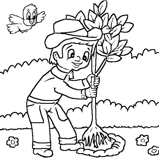 Coloriage et dessins gratuits Jardinier plante un arbre à imprimer