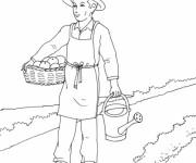 Coloriage et dessins gratuit Jardinier porte ses légumes à imprimer
