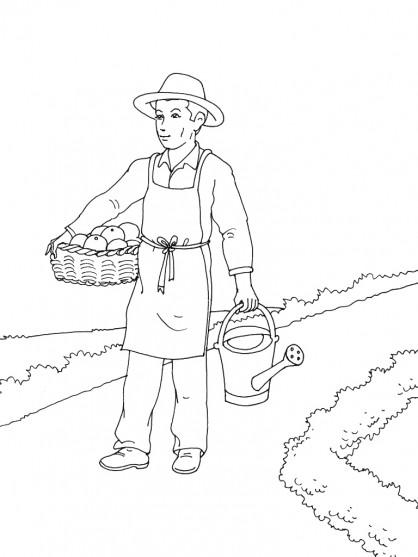 Coloriage et dessins gratuits Jardinier porte ses légumes à imprimer