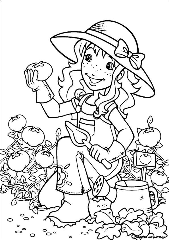 Coloriage et dessins gratuits Jardinière et tomates à imprimer