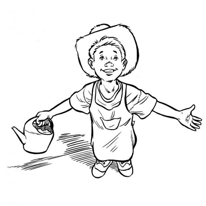 Coloriage et dessins gratuits Jeune fermier à imprimer