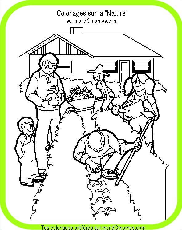 Coloriage et dessins gratuits La famille au jardin à imprimer