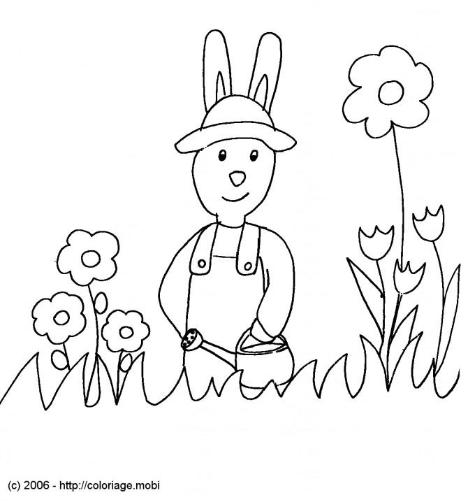 Coloriage et dessins gratuits Lapin jardin à imprimer