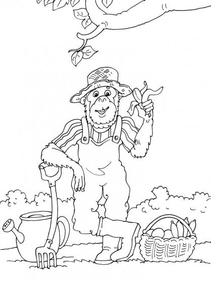 Coloriage et dessins gratuits Le jardinier singe à imprimer