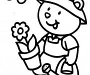 Coloriage Le petit ours Jardinier
