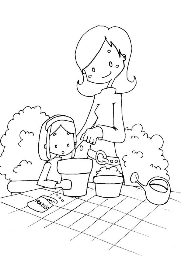 Coloriage et dessins gratuits Maman et sa fille au jardin à imprimer