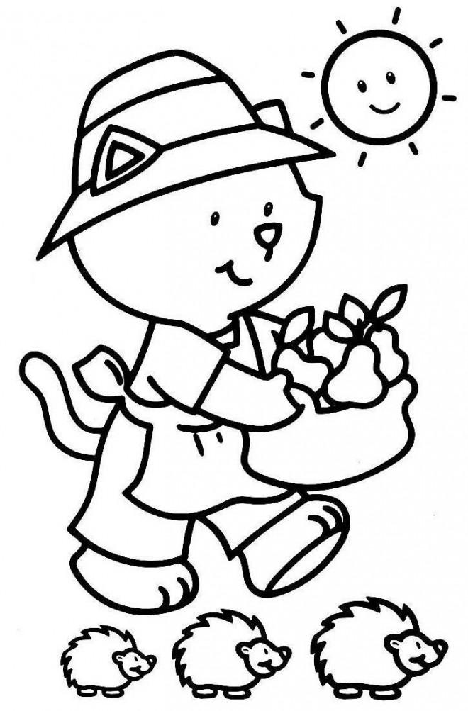 Coloriage et dessins gratuits Ours et des poires à imprimer
