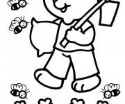 Coloriage Ours fermier et les abeilles