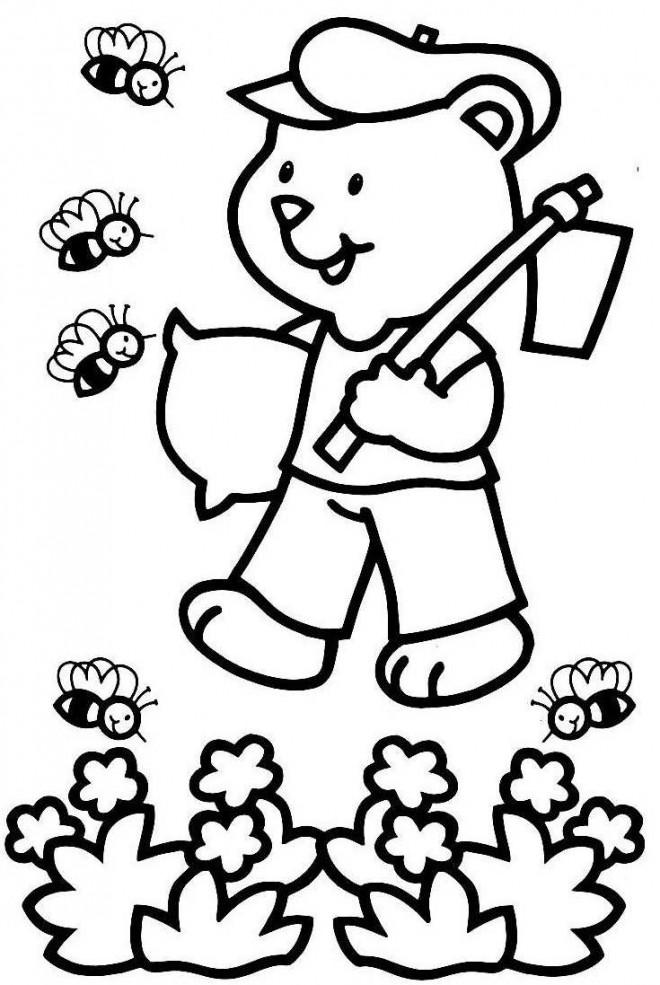 Coloriage et dessins gratuits Ours fermier et les abeilles à imprimer