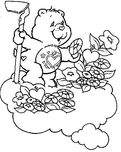 Coloriage et dessins gratuits Ours jardin dans les nuages à imprimer