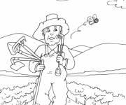 Coloriage et dessins gratuit paysan retourne à la maison à imprimer