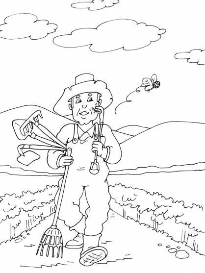 Coloriage et dessins gratuits paysan retourne à la maison à imprimer