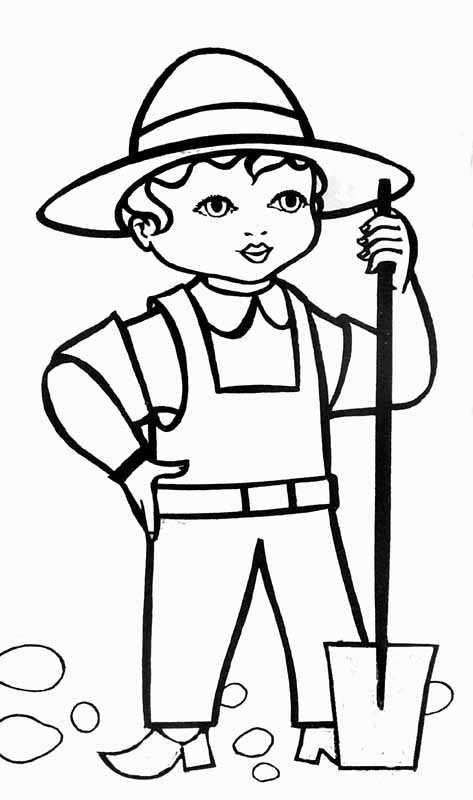 Coloriage et dessins gratuits Pelle jardinier à imprimer