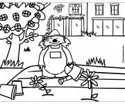 Coloriage Petit ours fait du jardinage