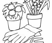 Coloriage Pots  de fleurs et accessoires