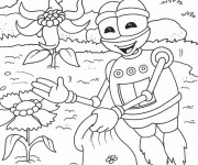 Coloriage Un Robot Jardinier