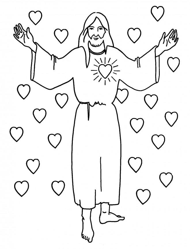 Coloriage et dessins gratuits Amour de Jésus à imprimer